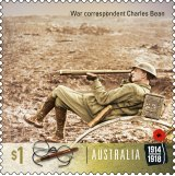 The stamp commemorating war correspondent and historian Charles Bean.