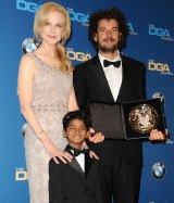 Winner of best first film: Garth Davis with Nicole Kidman and Sunny Pawar at the Directors Guild of America Awards in Beverly Hills on February 4.