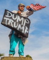 A protester demonstrates in an anti-Trump protest against President-elect, Donald Trump.