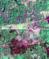 The town of Maungdaw, Myanmar, in January 2014, top; and on September 2. Human Rights Watch says predominantly Rohingya homes were destroyed.