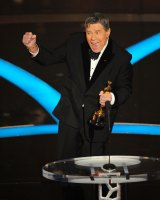 Jerry Lewis accepts the Jean Hersholt Humanitarian Award by the Board of Governors of the Academy of Motion Picture Arts and Sciences at the 81st Academy Awards. Lewis became as famous for his fundraising telethons as for his movies.