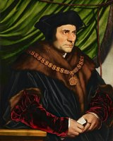 Hans Holbein the Younger's oil painting of Sir Thomas More, 1527.