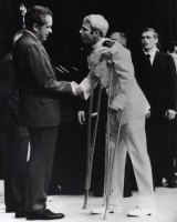 In this 1973 file photo John McCain is greeted by US president Richard Nixon after more than five years in a Vietnamese prisoner of war camp.