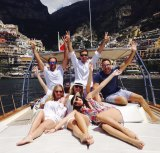 """Global celebrations: After the wedding Christie and David went on a European """"buddymoon"""" with their bridal party."""