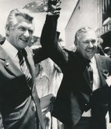 Bob Hawke and Alan Bond in 1983.