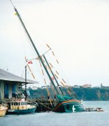 Greenpeace's Rainbow Warrior after the bombing in 1985.