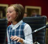 Ten-year-old Grace Gregson from year 5 at Seaforth Public school speaks to the media Senate inquiry at NSW Parliament House.