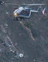 Debris of the Germanwings passenger jet is scattered on the mountain side near Seyne les Alpes.