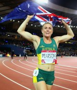 """""""Pure relief"""": Sally Pearson enjoys her victory in Glasgow."""