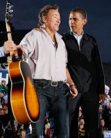 Democratic presidential nominee Barack Obama campaigns with singer Bruce Springsteen at a rally in Cleveland, Ohio, in 2008.
