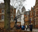 Visitors have their photograph taken in front of the King Richard III statue in Leicester.
