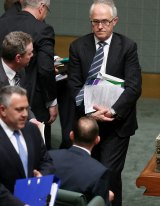 Communications Minister Malcolm Turnbull and Prime Minister Tony Abbott and the end of question time  on Wednesday.