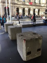 Bollards in Bourke Street Mall, where pedestrians and shoppers were killed in the January rampage this year.