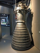 The combustion chamber from the Saturn V rockets built to send the Apollo astronauts to the moon.