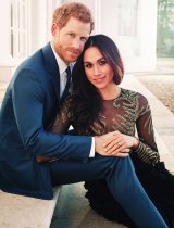 Ms Markle chose a Ralph & Russo ballgown for the photoshoot.