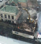 The pub in Carlton under demolition on Saturday.