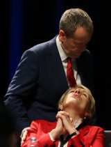 Opposition Leader Bill Shorten and Deputy Opposition Leader Tanya Plibersek at the ALP National Conference on day three Melbourne on Sunday.