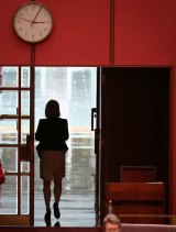 Fiona Nash departs Question Time.