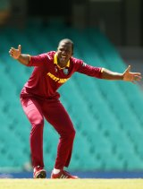 Darren Sammy of West Indies appeals during the ICC Cricket World Cup warm-up match between the West Indies and Scotland at Sydney Cricket Ground on February 12.