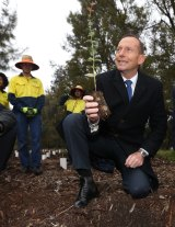 Tony Abbott at a Green Army project in 2015.