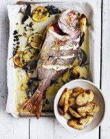 Whole snapper roasted with herbs.