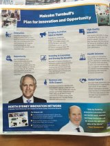 A newspaper advertisement promises a new 'North Sydney Innovation Network' if Trent Zimmerman is elected.