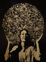 James Powditch's portrait features Cath Keenan wearing what appears to be an afro filled with cogs and the words of children at the Sydney Story Factory.
