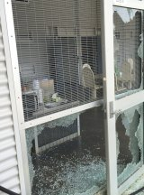 Damage cuased by the riot at Christmas Island after the death of Fazel Chegeni