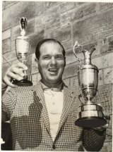 Kel Nagle and trophies following his victory in the centenary British Open at St Andrews in 1960.