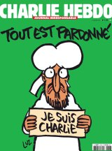 """<i>Charlie Hebdo</i>'s front page of the upcoming """"survivors"""" edition."""