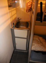 A bunk bed in a laundry of an illegal accommodation in the Sydney CBD.