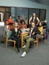 Practice what you preach: Britta Perry (front left) in <i>Community</i>.