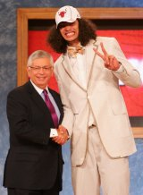 Way back when: NBA Commissioner David Stern poses for a photo with Joakim Noah after he was drafted ninth by the Chicago Bulls during the 2007 NBA Draft.