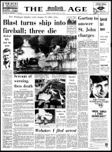 The front page of The Age, March 24, 1969, which reported on the accident that killed Carmel Young's husband.