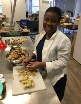 Yarrie Bangura at work in her test kitchen, making her prototype batches of Aunty's Ginger Tonic.