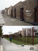 Then and now: The wall along Bernauer Strasse, now part of the Wall Remembrance Monument.