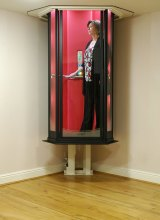 Terry Lift's 'Lifestyle' elevator moves between floors without an elevator shaft.