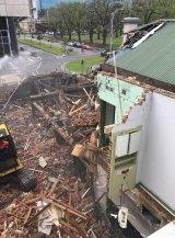 The pub under demolition.