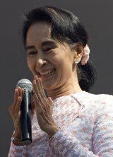 Leader of Myanmar's National League for Democracy party, Aung San Suu Kyi, in Yangon on Monday.