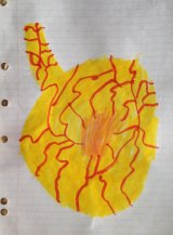 Oscar's drawing of his father's colon cancer, a ''mole in a tummy''.