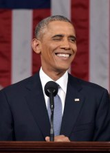 Confident: US President Barack Obama delivers his State of the Union address.