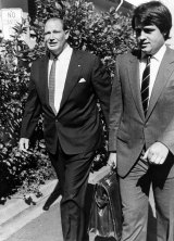 Kerry Packer with advisor Malcolm Turnbull in 1984.