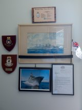 Memorabilia hangs in the Ballarat home of HMAS Perth survivor David Manning.