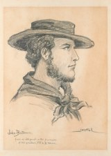 John Batman. Charcoal and pencil on white paper by Charles Nuttall, c.1912.