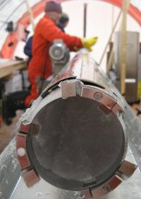 An ice core in a drill that researchers used to study the climate of Antarctica.