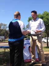 Labor candidate for Mulgoa Todd Carney presenting an award.