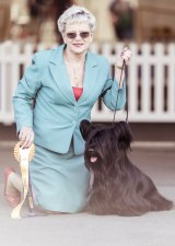"""""""As a Mum, if you've got newborn puppies, you want to give them the best start in life, so you watch them. With the last litter, I never went to  bed for five weeks."""" Julie Cartledge, of Melbourne, with her Skye terrier."""
