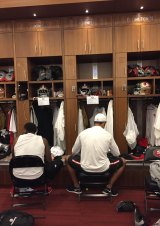 Inner sanctum: Jarryd Hayne in the 49ers locker room.