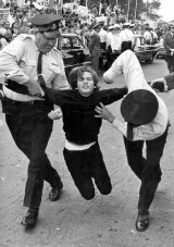 Police arresting a protester at an anti-Vietnam war demonstration.