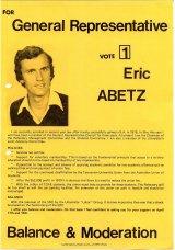 Abetz's flyer for the University of Tasmania student elections.